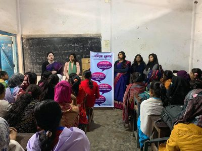 menstrual hygiene awareness session for girls and women from impoverished and disadvantaged families in Bangladesh